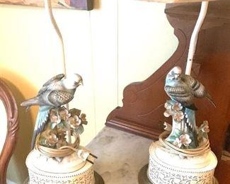 pair of porcelain bird lamps