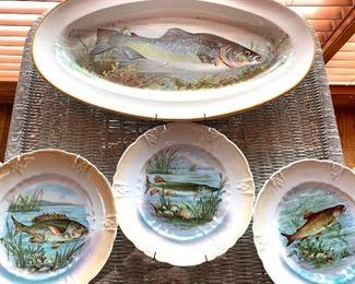 antique fish platter &  plates