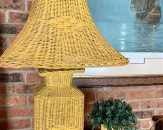 Yellow wicker lamp