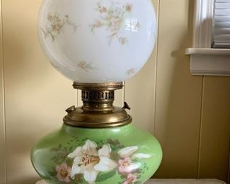 antique (electric converted) oil lamp