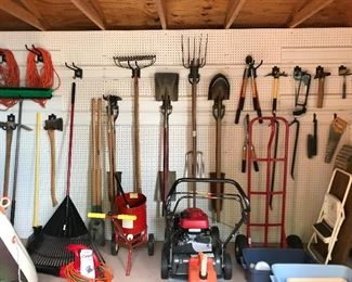 A shed full of yard tools