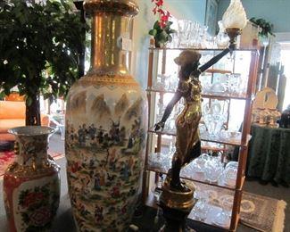 7' Asian floor vase depicting 100 fairy tales