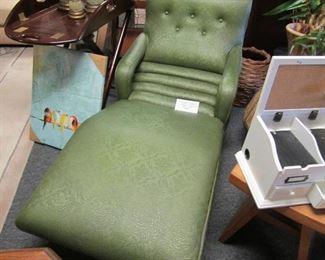Vintage vinyl curved lounge chair