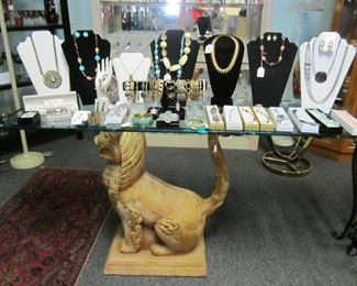 Food Dog sofa/hall table - misc. costume jewelry