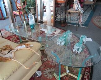 Vintage acrylic/brass coffee table and end table
