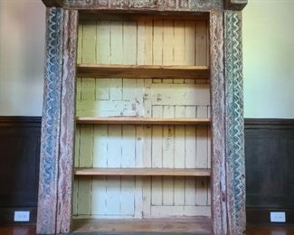 "unique four-shelf bookcase - wonderful carvings and colors!  57"" wide x 23"" deep x 77.5"" tall"