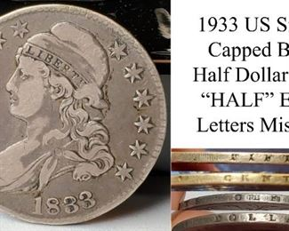 Coins Capped Bust Silver Half Dollar 1833 Edge Letter Error