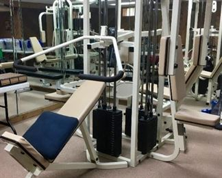 Maxicam Multi-Max multi-station home gym – 4 stations, weights, excellent condition. Also available is a treadmill, recumbent bicycle, dumbbells (several weights), free-standing bench.
