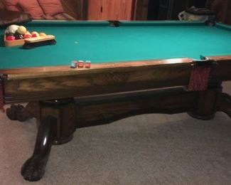 Peter Vitalie Co. pool table and accessories, excellent condition. Includes cover, ivory balls, cue sticks.