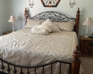 Beautiful King bed frame (bed frame has sold). King comforter set.