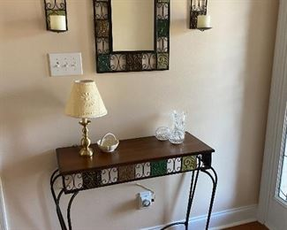 Entry table, mirror and sconces.