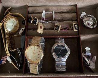 men's wrist watches and cuff links.  2 Seiko, 1 Timex, 1 Bijoux Terner