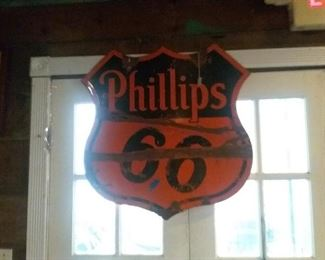 Phillips sign $500 dbl sided porcelain