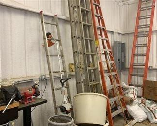 Garden pots, extension ladder