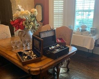 Silverware sets, China, and dining room furniture