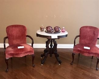 Matching chairs and Marble Top Table