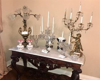 Amazing Long Marble Top Table With Fabulous Lamps