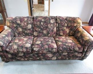 """""""Bradington Young"""" floral upholstered sofa. 79"""" long x 39"""" wide. PRICE: $250.00"""