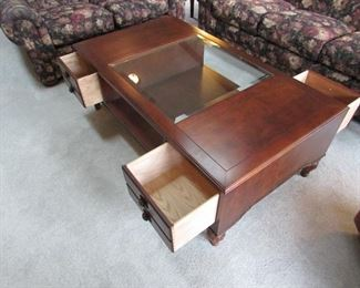open drawers of Stanley cocktail table.