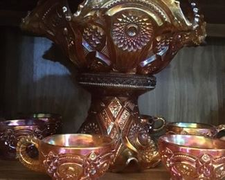 Carnival Glass Punch Bowl and Cups