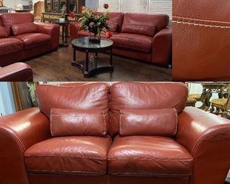 Italian Leather Sofa, Loveseat, & Chair