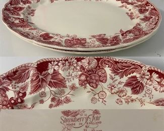 2 Large Platters Strawberry Fair England By Johnson Bro's.