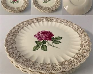 American Limoges USA American Beauty Rose salad bowls, bread dishes & saucers