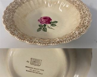 American Limoges USA American Beauty Rose Serving Bowl