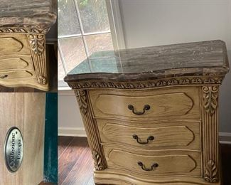 Collezione Europa Chunky Blonde Wood Night Stand Marble Top
