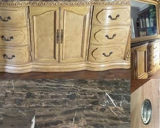 Collezione Europa Chunky Blonde Wood Dresser/Mirror with Marble Top