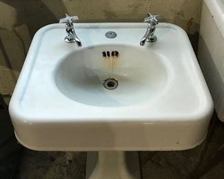 Vintage Cast iron pedestal sink