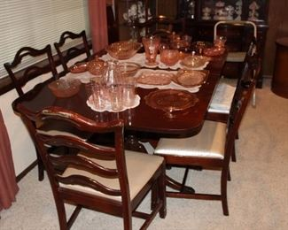 mahogany dining table and six chairs, double pedestal base