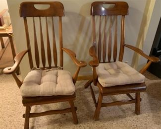 """REDUCED!  $100.00 now, was $150.00 for pair.......The Sikes Company Handle Top Chairs Pair 40"""" tall"""