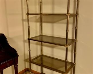 REDUCED!  $150.00 now, was $200.00......Vintage Brass Etagere with Original Smoked Glass Shelves