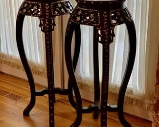 REDUCED!  $900.00 now, was $1,200.00......Beautiful Rosewood Inlaid Mother of Pearl Plant Stands with Marble Base Set