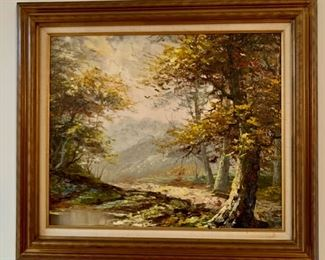"""REDUCED!  $75.00 now, was $100.00......Oil Painting Woodland Scene, 31"""" x 26 1/2"""" framed (UL58)"""