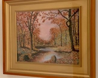"""REDUCED!  $60.00 now, was $80.00......Reverse Painting On Glass, 22"""" x 18"""" pretty fall colors, good condition(PLB)"""