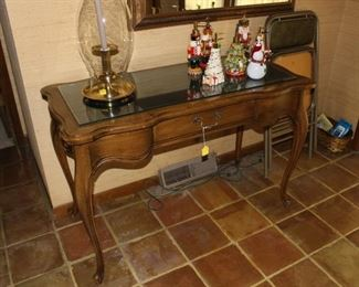 Entry hall table with glass