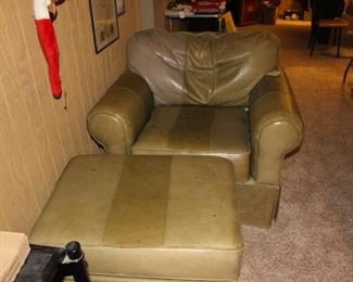 Green leather chair and ottoman