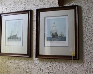 Pair of sailing ship prints
