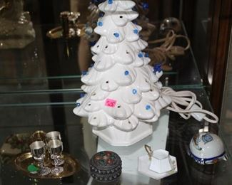 White Christmas tree with base