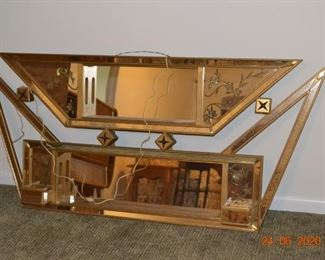 This Vintage, Light up Mirror is definitely a statement piece!  When lit it is a very cool piece.  We have dimensions on all large pieces.