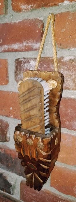Wood carved brush and holder