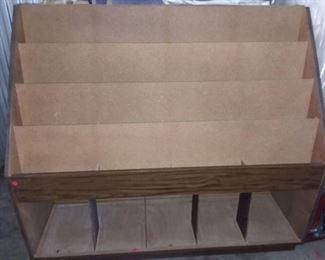 Wood 4 Tier 21 Cubby Magazine Stand 50 x 55 x 20.5 in
