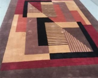 Red Brown and Black Area Rug 183 x 113.5 In