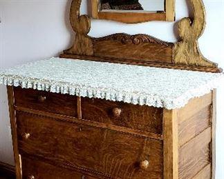 Four drawer antique dresser & cheval mirror