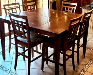 Square tall table with leaf & six stools