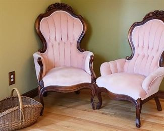 Basket & pair velveteen carved wood trim tuft back arm chairs