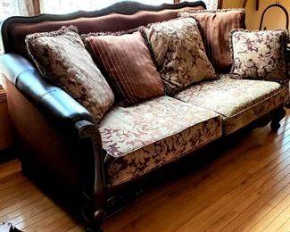 Wood trim leather/upholstery sofa & ......