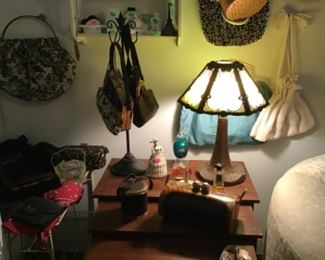 Stacking table, Leaded Glass lamp, vintage purses